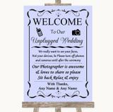 Lilac No Phone Camera Unplugged Customised Wedding Sign