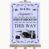 Lilac Photobooth This Way Left Customised Wedding Sign