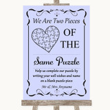 Lilac Puzzle Piece Guest Book Customised Wedding Sign