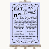 Lilac Signature Favourite Drinks Customised Wedding Sign