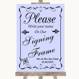 Lilac Signing Frame Guestbook Customised Wedding Sign