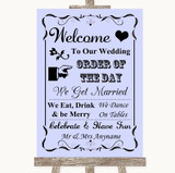 Lilac Welcome Order Of The Day Customised Wedding Sign