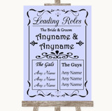 Lilac Who's Who Leading Roles Customised Wedding Sign