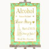 Mint Green & Gold Alcohol Bar Love Story Customised Wedding Sign