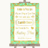 Mint Green & Gold All Family No Seating Plan Customised Wedding Sign