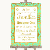 Mint Green & Gold As Families Become One Seating Plan Customised Wedding Sign