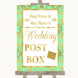 Mint Green & Gold Card Post Box Customised Wedding Sign