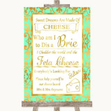 Mint Green & Gold Cheese Board Song Customised Wedding Sign