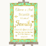 Mint Green & Gold Choose A Seat We Are All Family Customised Wedding Sign