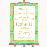 Mint Green & Gold Confetti Customised Wedding Sign