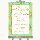 Mint Green & Gold Dad Walk Down The Aisle Customised Wedding Sign