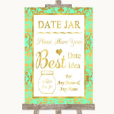 Mint Green & Gold Date Jar Guestbook Customised Wedding Sign