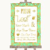 Mint Green & Gold Fingerprint Tree Instructions Customised Wedding Sign
