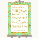 Mint Green & Gold Friends Of The Bride Groom Seating Customised Wedding Sign
