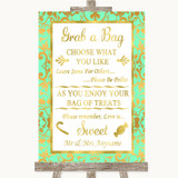 Mint Green & Gold Grab A Bag Candy Buffet Cart Sweets Customised Wedding Sign