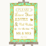 Mint Green & Gold Guestbook Advice & Wishes Mr & Mrs Customised Wedding Sign
