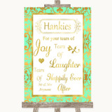 Mint Green & Gold Hankies And Tissues Customised Wedding Sign