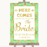 Mint Green & Gold Here Comes Bride Aisle Sign Customised Wedding Sign