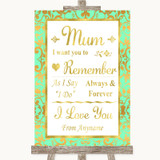 Mint Green & Gold I Love You Message For Mum Customised Wedding Sign