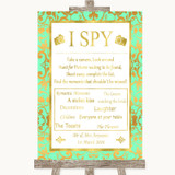 Mint Green & Gold I Spy Disposable Camera Customised Wedding Sign