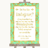 Mint Green & Gold Instagram Photo Sharing Customised Wedding Sign