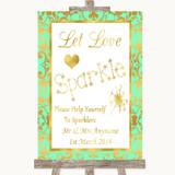 Mint Green & Gold Let Love Sparkle Sparkler Send Off Customised Wedding Sign