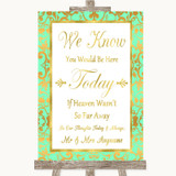 Mint Green & Gold Loved Ones In Heaven Customised Wedding Sign