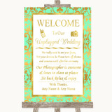 Mint Green & Gold No Phone Camera Unplugged Customised Wedding Sign