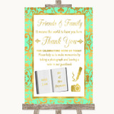 Mint Green & Gold Photo Guestbook Friends & Family Customised Wedding Sign