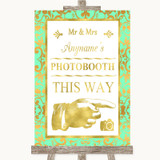 Mint Green & Gold Photobooth This Way Right Customised Wedding Sign