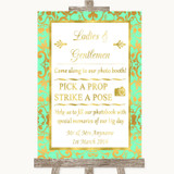 Mint Green & Gold Pick A Prop Photobooth Customised Wedding Sign