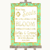 Mint Green & Gold Plant Seeds Favours Customised Wedding Sign