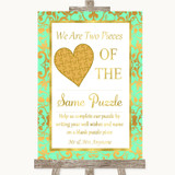 Mint Green & Gold Puzzle Piece Guest Book Customised Wedding Sign