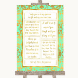 Mint Green & Gold Romantic Vows Customised Wedding Sign