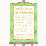 Mint Green & Gold Rules Of The Dance Floor Customised Wedding Sign