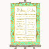 Mint Green & Gold Rules Of The Wedding Customised Wedding Sign