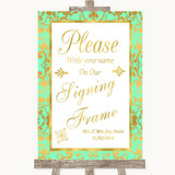 Mint Green & Gold Signing Frame Guestbook Customised Wedding Sign