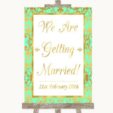 Mint Green & Gold We Are Getting Married Customised Wedding Sign