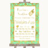 Mint Green & Gold Wedpics App Photos Customised Wedding Sign