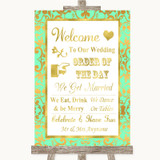 Mint Green & Gold Welcome Order Of The Day Customised Wedding Sign