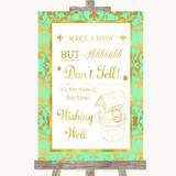 Mint Green & Gold Wishing Well Message Customised Wedding Sign