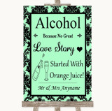 Mint Green Damask Alcohol Bar Love Story Customised Wedding Sign