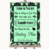 Mint Green Damask All Family No Seating Plan Customised Wedding Sign