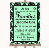 Mint Green Damask As Families Become One Seating Plan Customised Wedding Sign