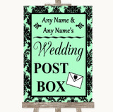 Mint Green Damask Card Post Box Customised Wedding Sign