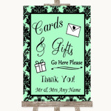 Mint Green Damask Cards & Gifts Table Customised Wedding Sign