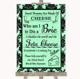 Mint Green Damask Cheese Board Song Customised Wedding Sign