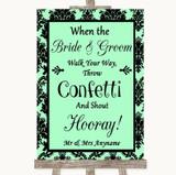 Mint Green Damask Confetti Customised Wedding Sign