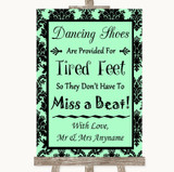 Mint Green Damask Dancing Shoes Flip-Flop Tired Feet Customised Wedding Sign
