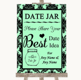 Mint Green Damask Date Jar Guestbook Customised Wedding Sign